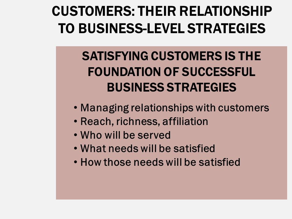 CUSTOMERS: THEIR RELATIONSHIP TO BUSINESS-LEVEL STRATEGIES