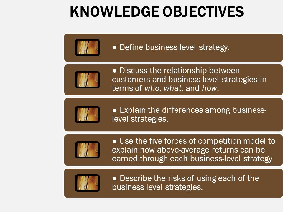 KNOWLEDGE OBJECTIVES ● Define business-level strategy.