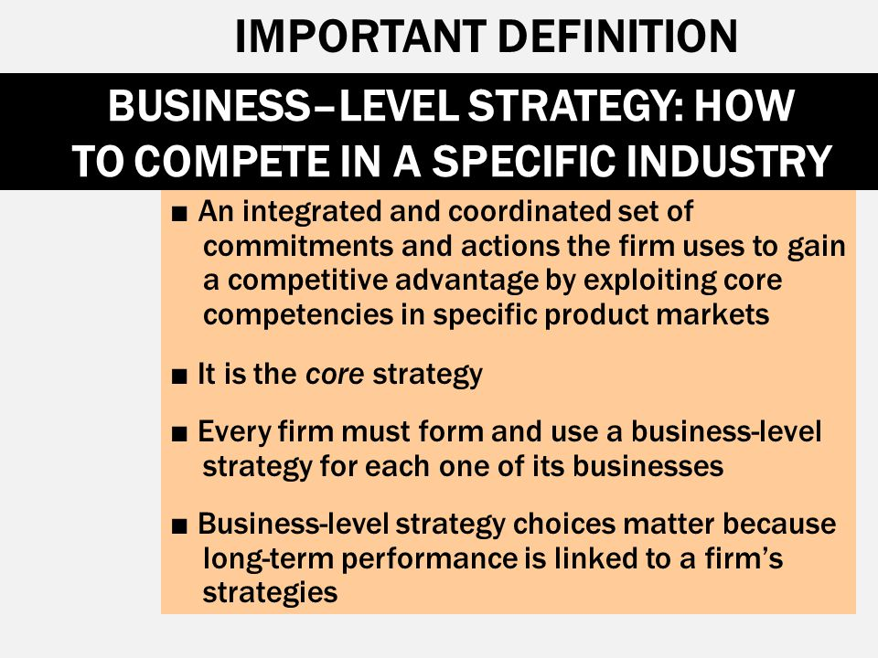 BUSINESS–LEVEL STRATEGY: HOW TO COMPETE IN A SPECIFIC INDUSTRY