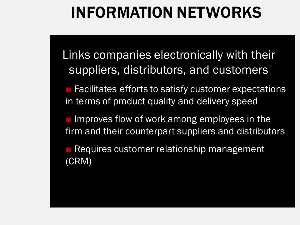 INFORMATION NETWORKS Links companies electronically with their suppliers, distributors, and customers.