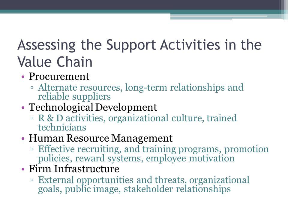 Assessing the Support Activities in the Value Chain