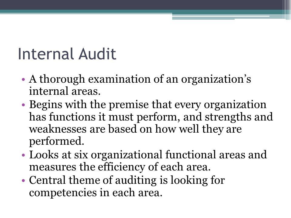 Internal Audit A thorough examination of an organization's internal areas.