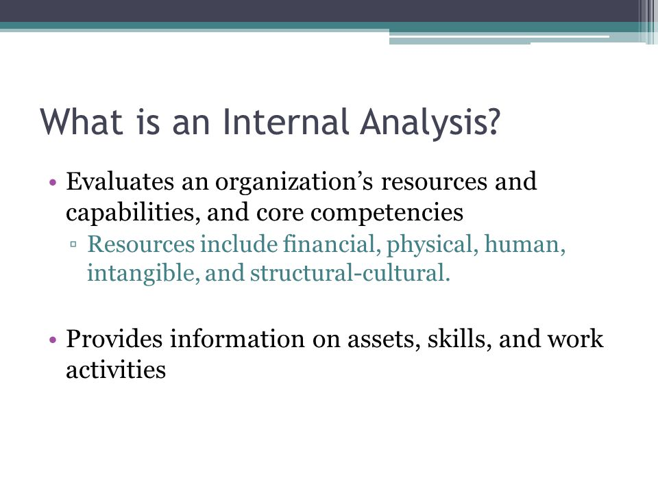 What is an Internal Analysis