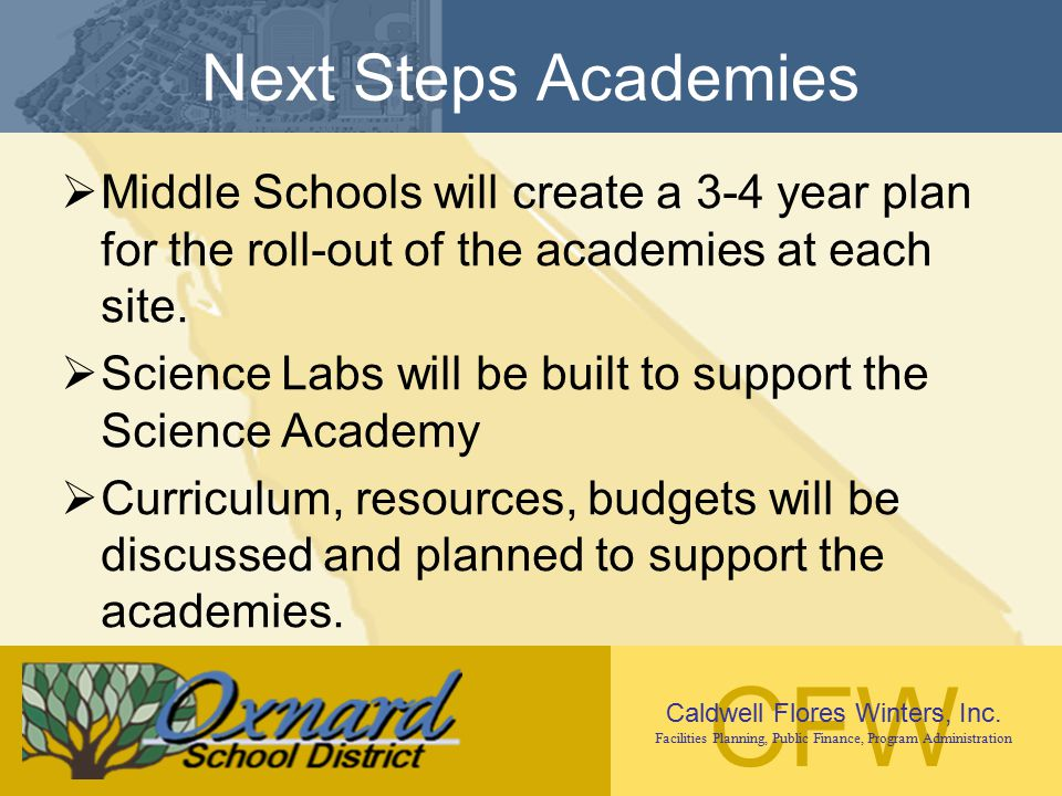 Next Steps Academies Middle Schools will create a 3-4 year plan for the roll-out of the academies at each site.