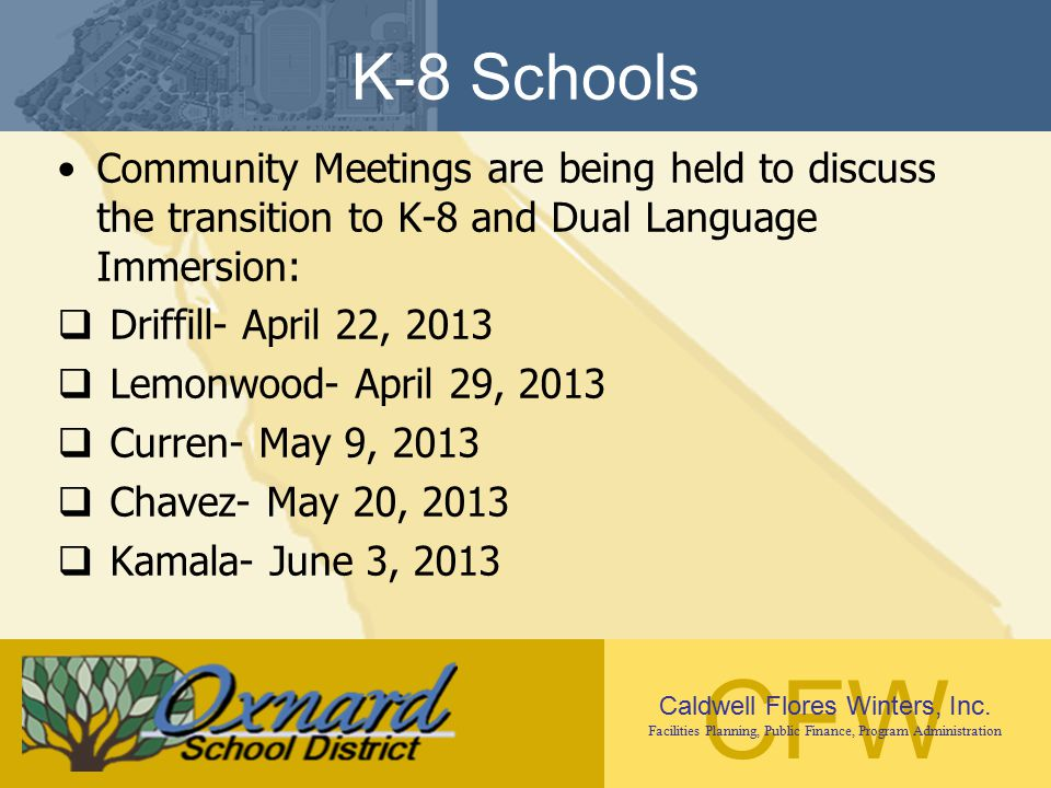 K-8 Schools Community Meetings are being held to discuss the transition to K-8 and Dual Language Immersion: