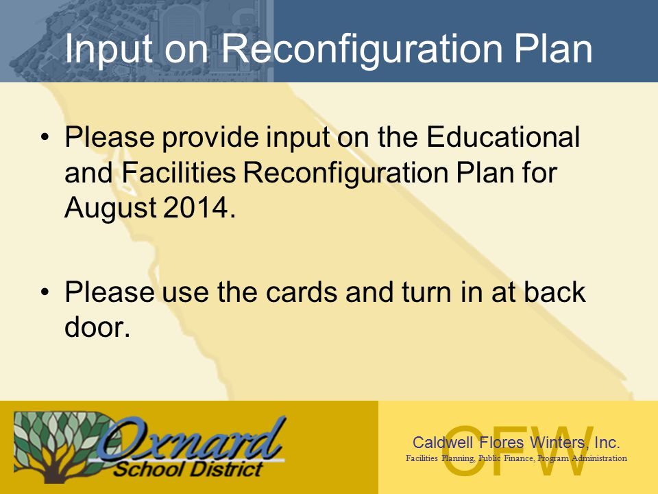 Input on Reconfiguration Plan