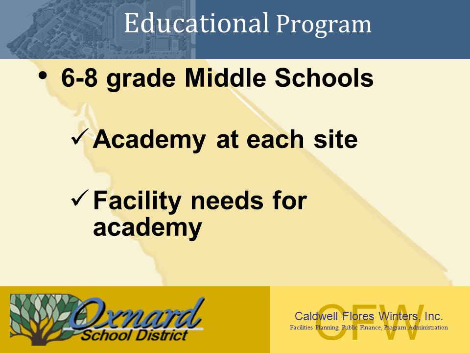 Educational Program 6-8 grade Middle Schools Academy at each site