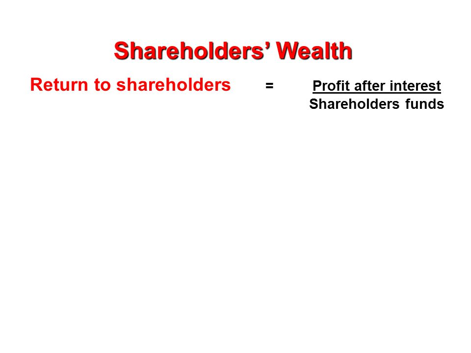 Return to shareholders = Profit after interest