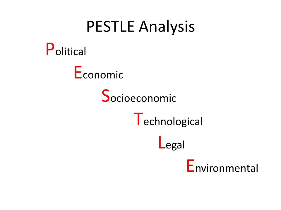 Political Environmental PESTLE Analysis Economic Socioeconomic