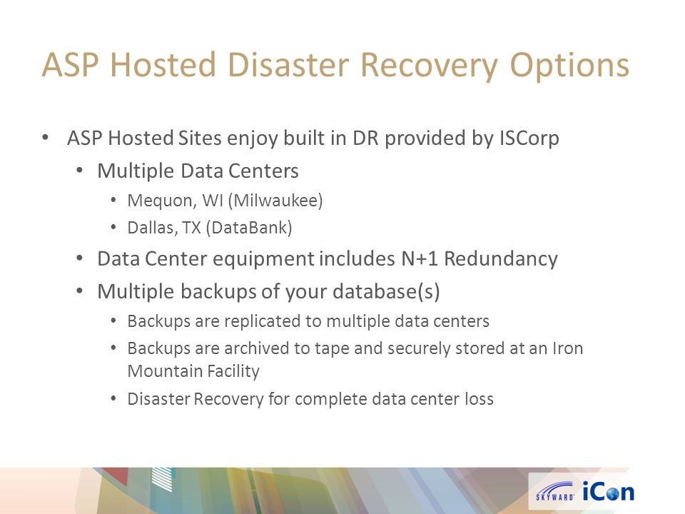 ASP Hosted Disaster Recovery Options