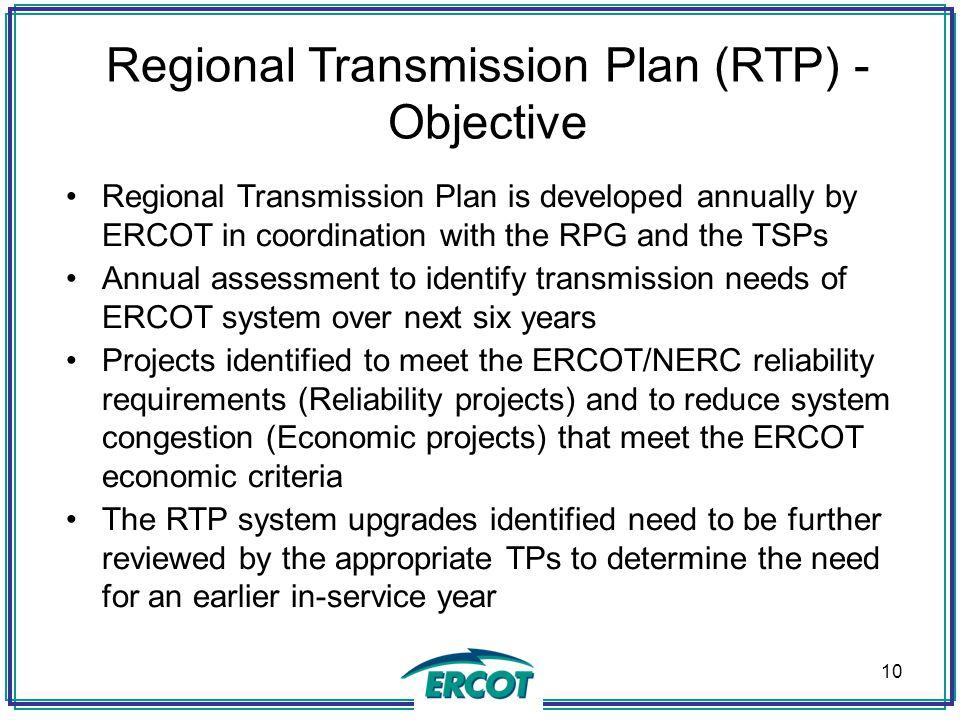 Regional Transmission Plan (RTP) - Objective