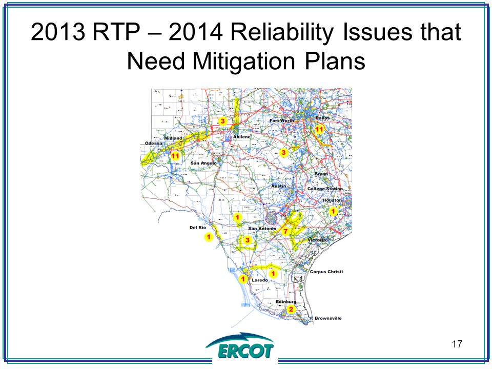 2013 RTP – 2014 Reliability Issues that Need Mitigation Plans