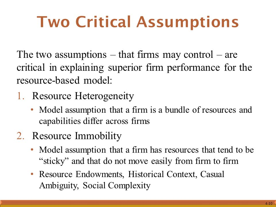 Two Critical Assumptions