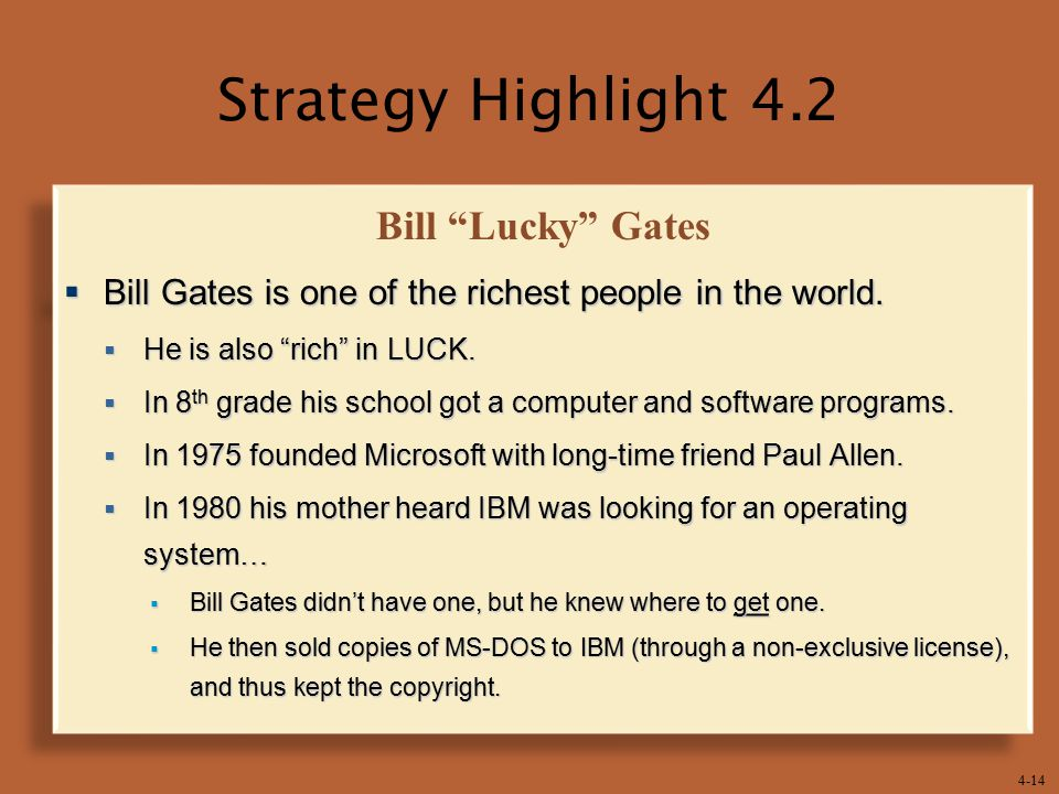 Strategy Highlight 4.2 Bill Lucky Gates