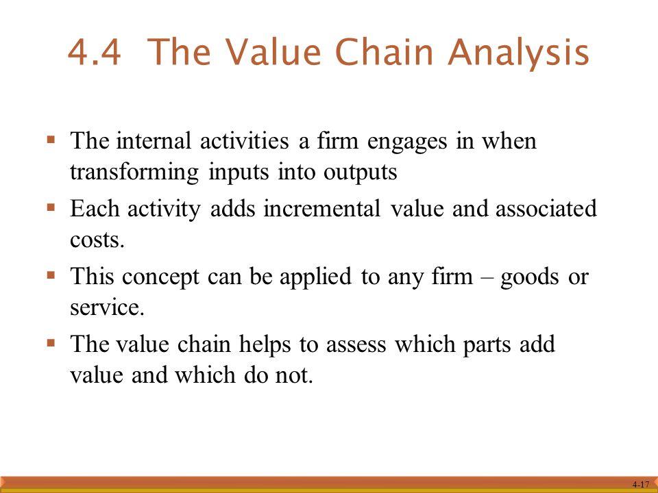 4.4 The Value Chain Analysis