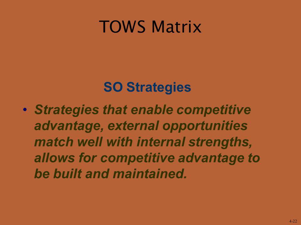 TOWS Matrix SO Strategies