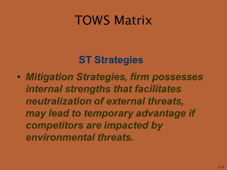 TOWS Matrix ST Strategies