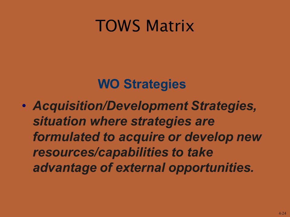TOWS Matrix WO Strategies
