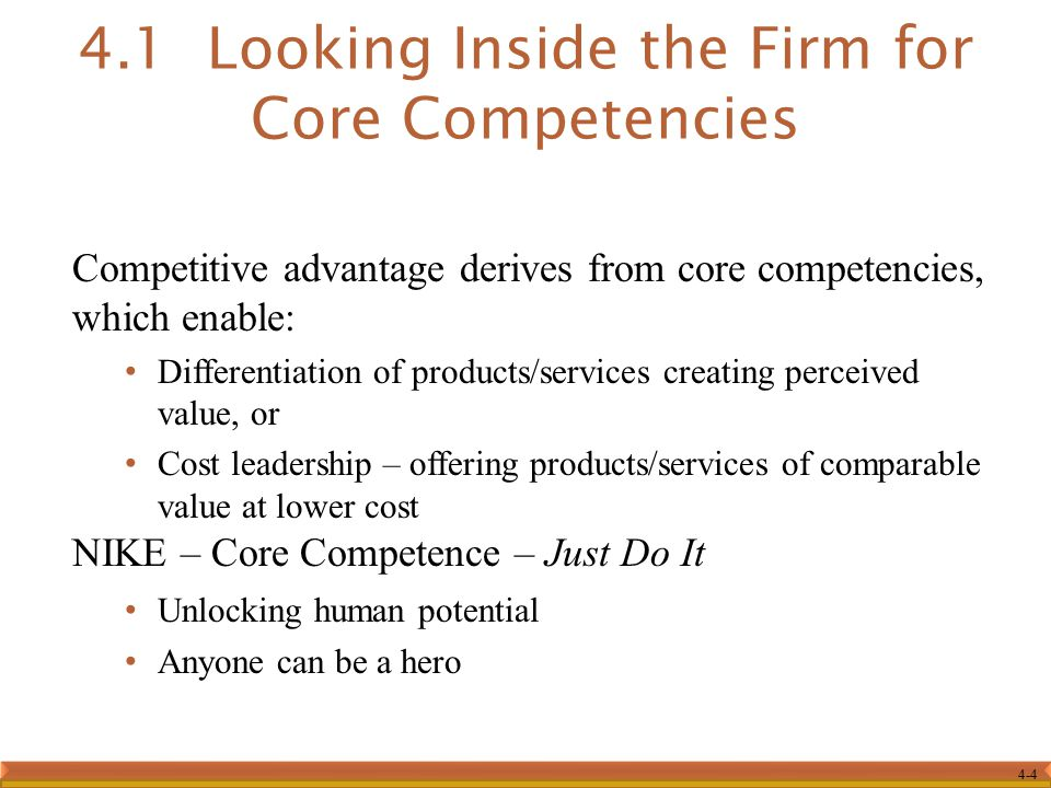4.1 Looking Inside the Firm for Core Competencies