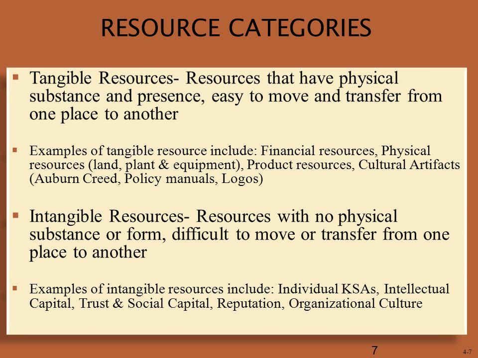 RESOURCE CATEGORIES Tangible Resources- Resources that have physical substance and presence, easy to move and transfer from one place to another.