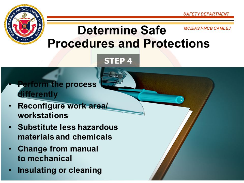 Determine Safe Procedures and Protections