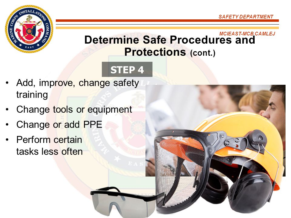 Determine Safe Procedures and Protections (cont.)