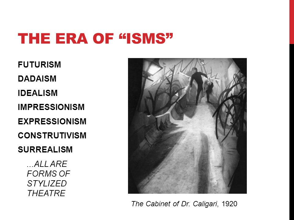 THE ERA OF ISMS FUTURISM DADAISM IDEALISM IMPRESSIONISM EXPRESSIONISM CONSTRUTIVISM SURREALISM ...ALL ARE FORMS OF STYLIZED THEATRE