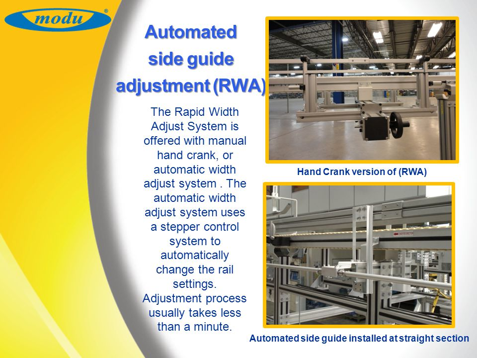 Automated side guide adjustment (RWA)