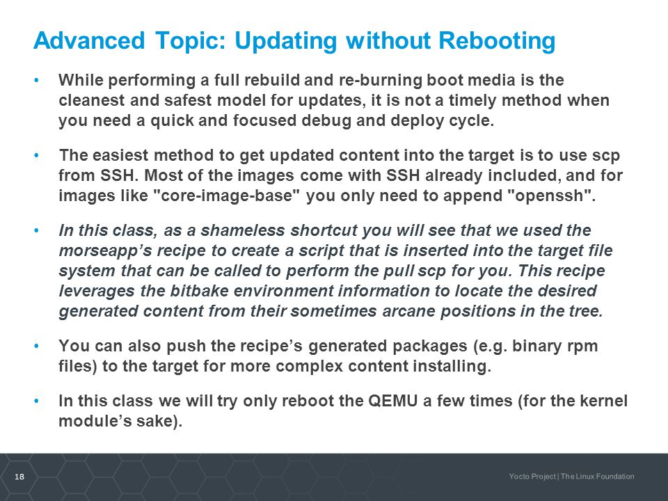 Advanced Topic: Updating without Rebooting