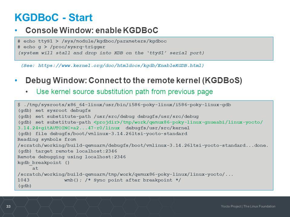 KGDBoC - Start Console Window: enable KGDBoC