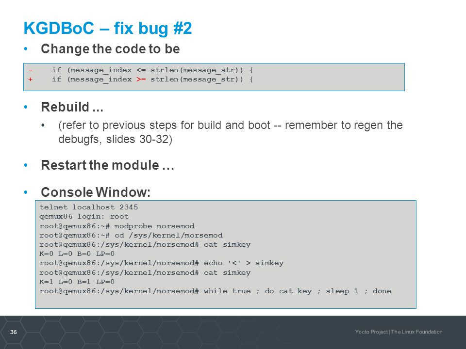KGDBoC – fix bug #2 Change the code to be Rebuild ...