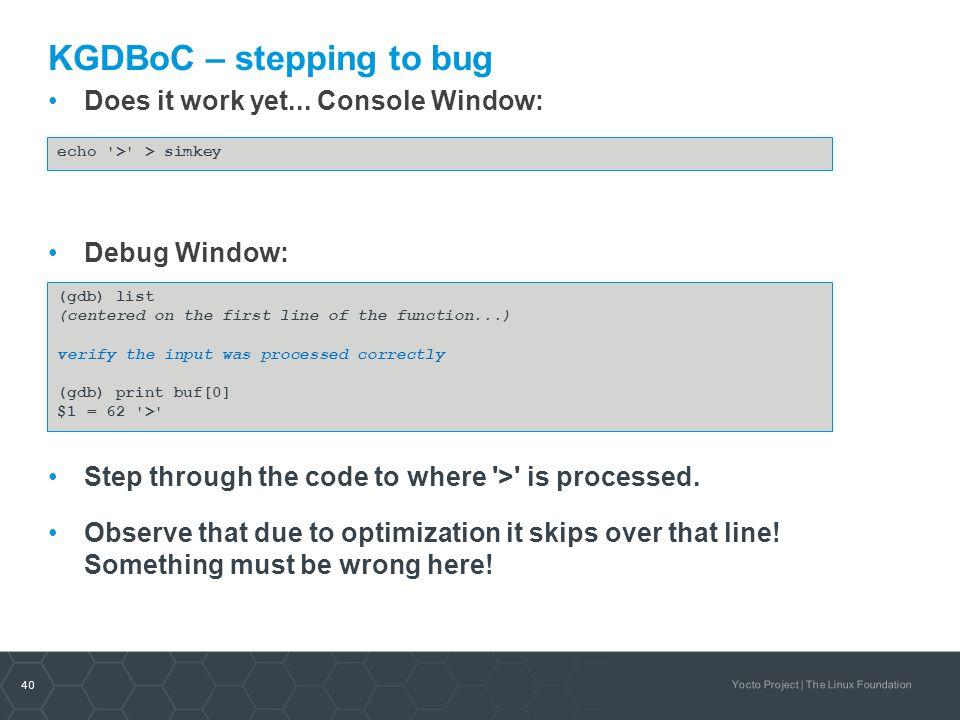 KGDBoC – stepping to bug
