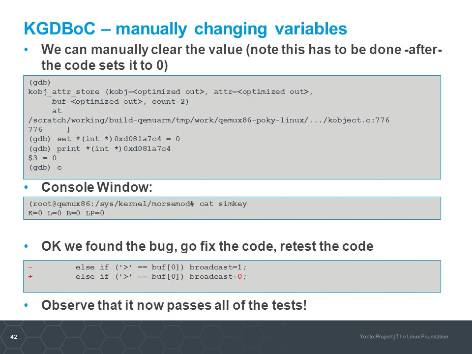 KGDBoC – manually changing variables