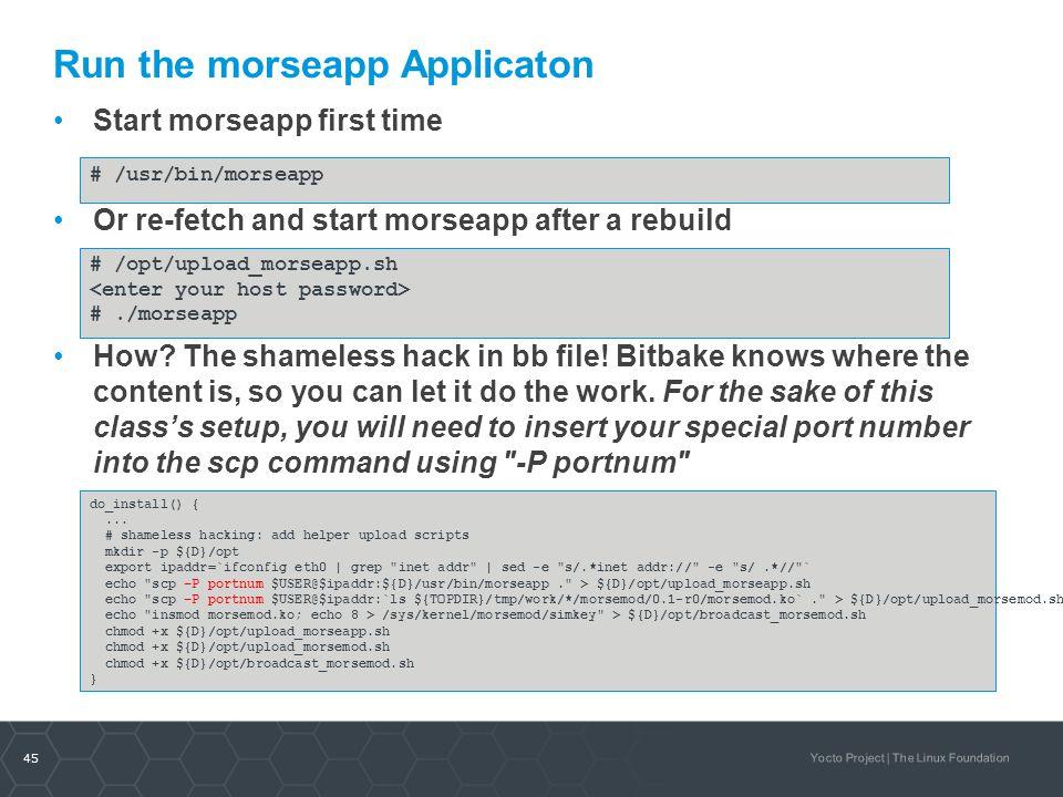 Run the morseapp Applicaton