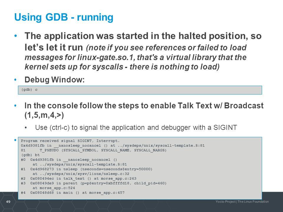 Using GDB - running