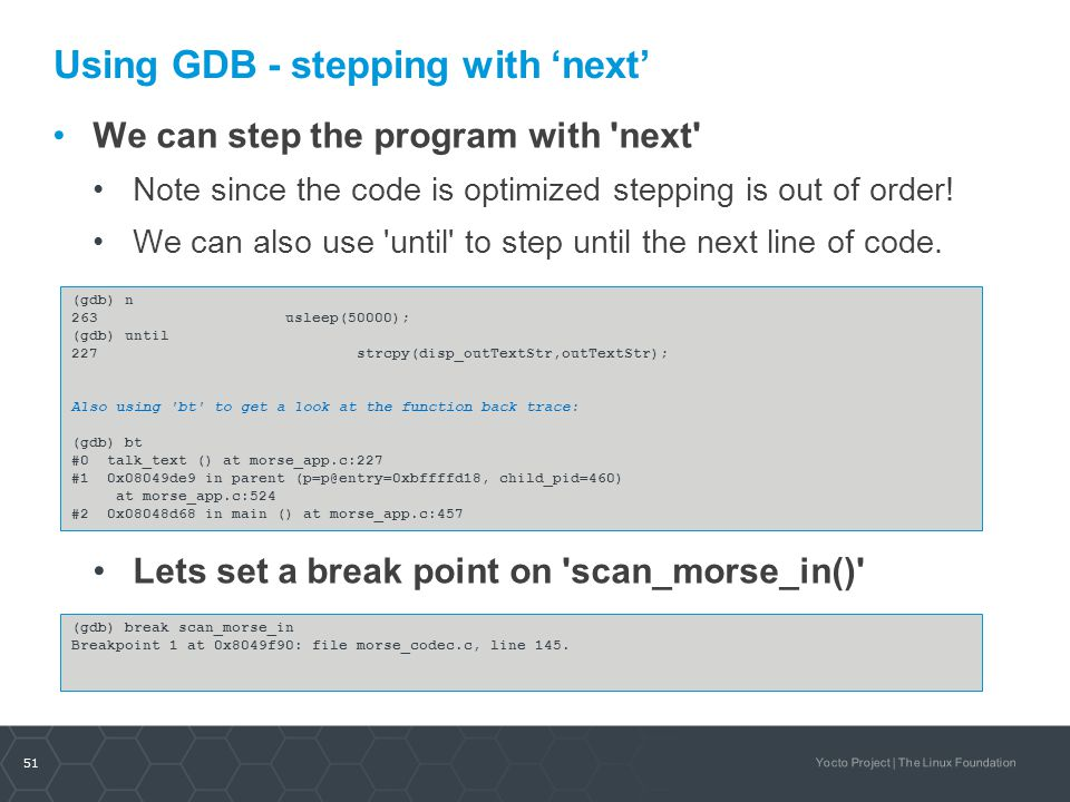 Using GDB - stepping with 'next'