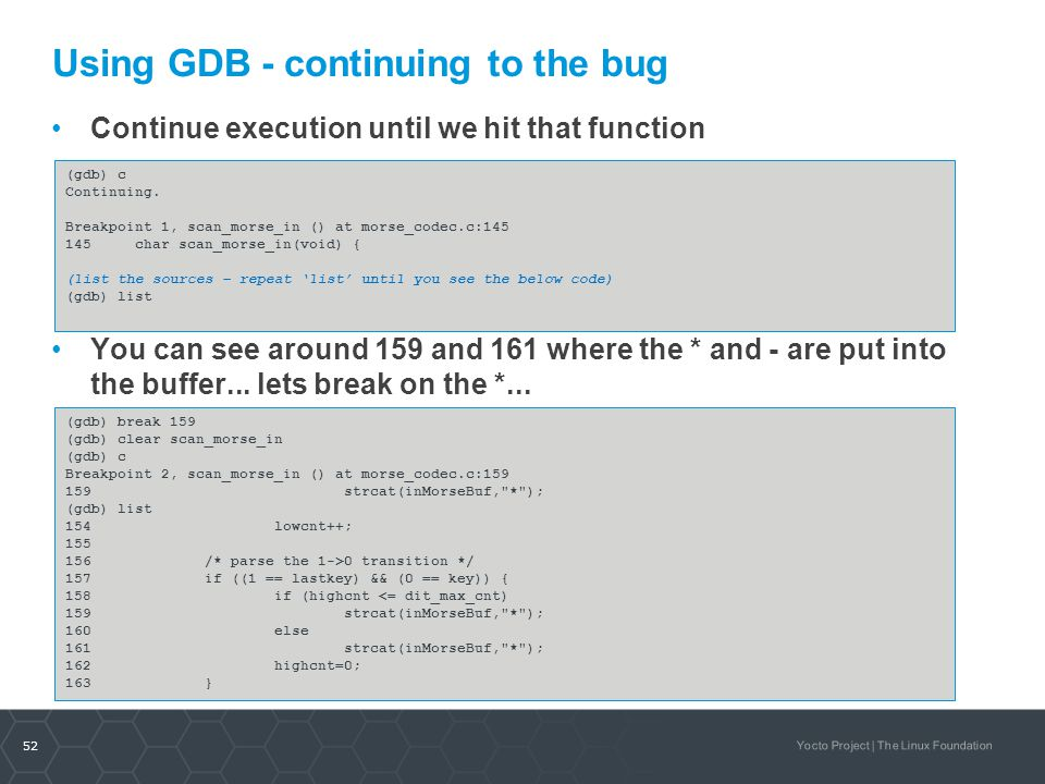 Using GDB - continuing to the bug
