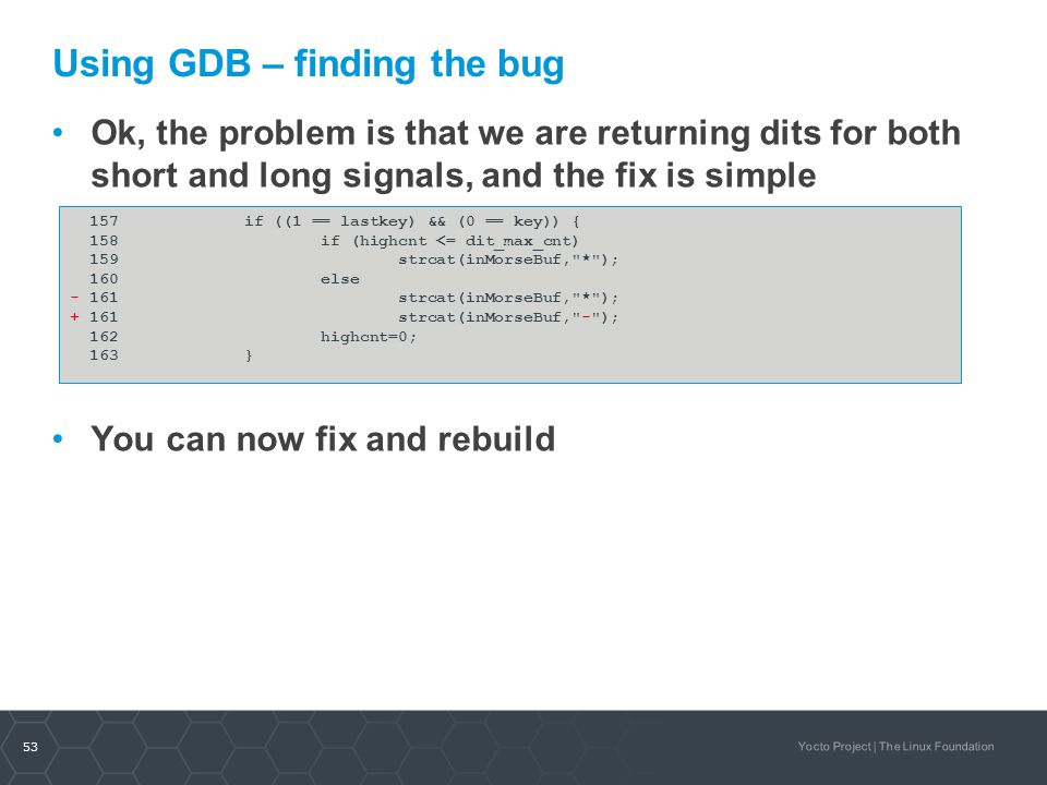 Using GDB – finding the bug