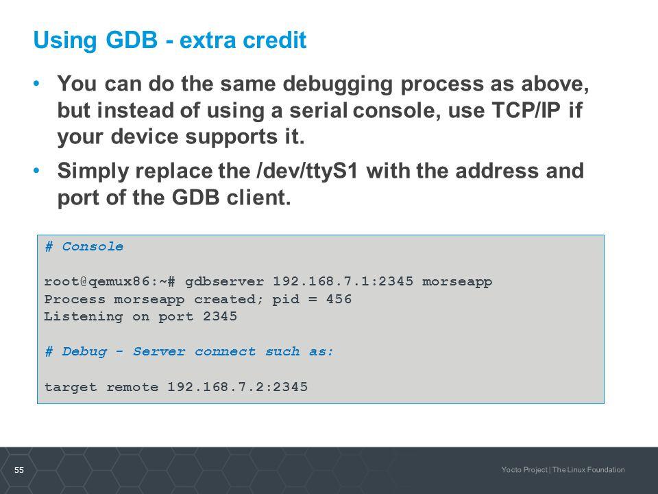Using GDB - extra credit