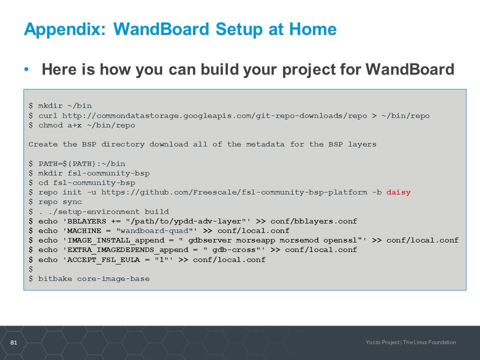 Appendix: WandBoard Setup at Home