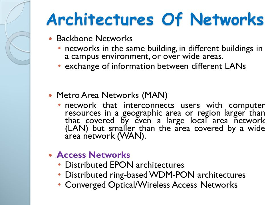 Architectures Of Networks