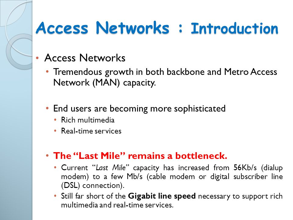 Access Networks : Introduction