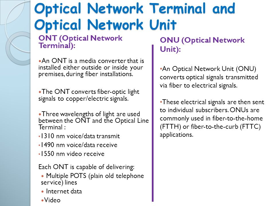 Optical Network Terminal and Optical Network Unit
