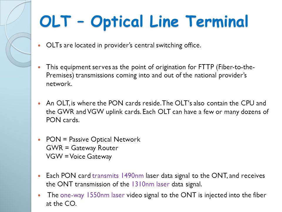 OLT – Optical Line Terminal