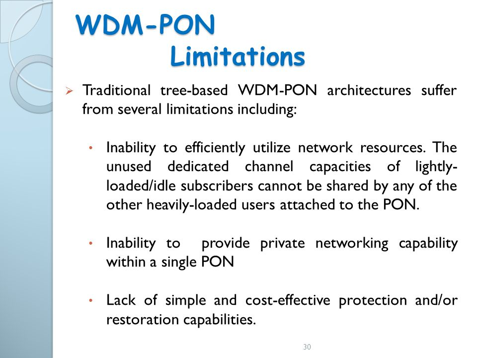 WDM-PON Limitations Traditional tree-based WDM-PON architectures suffer from several limitations including:
