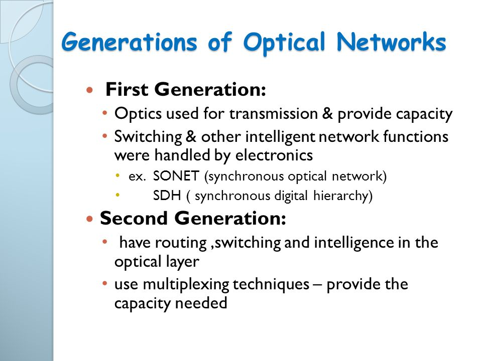 Generations of Optical Networks