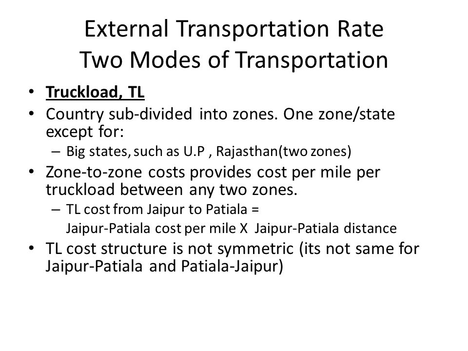 External Transportation Rate Two Modes of Transportation