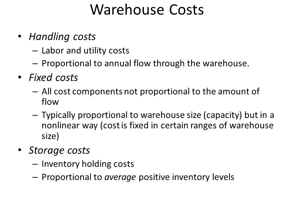 Warehouse Costs Handling costs Fixed costs Storage costs