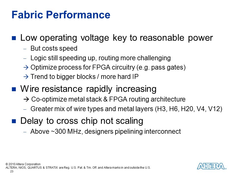 Fabric Performance Low operating voltage key to reasonable power