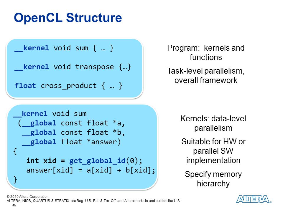 OpenCL Structure __kernel void sum { … } __kernel void transpose {…}